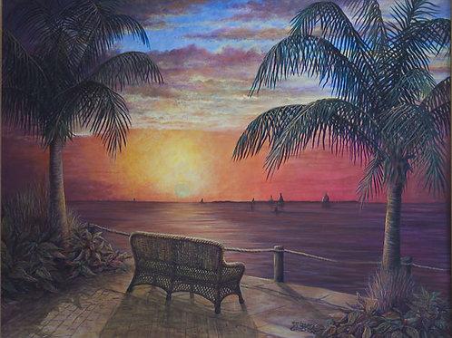 PRTOE726-Florida Shores & Rattan Bench