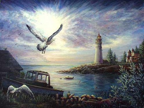 PRTGLP278-Boathouse-Gulls-Lighthouse