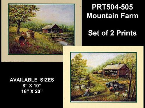 PRTOE504-505  Mountain Farm Scenes