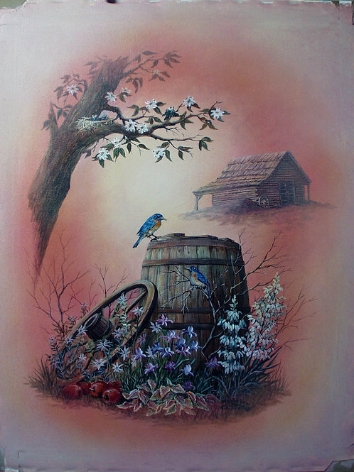 PRTOE629-Bluebirds and Apple Barrel