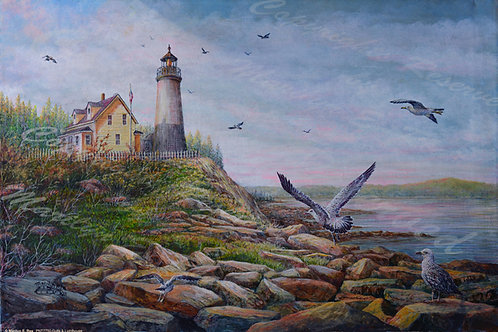 PNT760-Gulls & Lighthouse