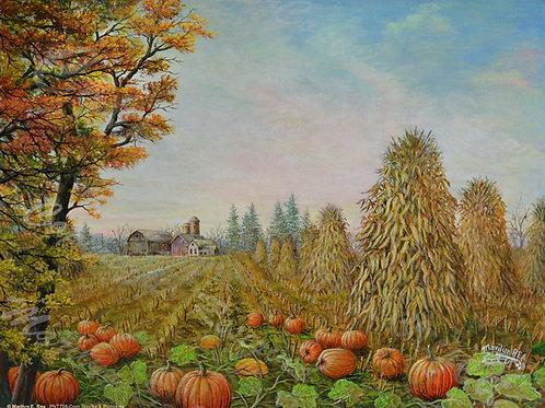 PRTGLP758-Corn Shocks & Pumpkins