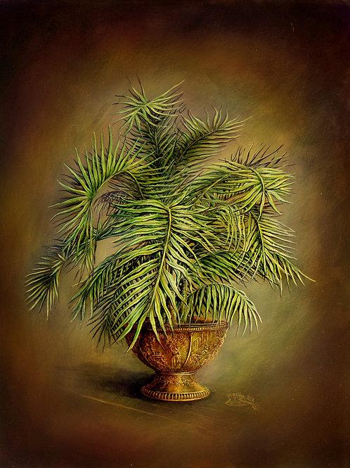 PRTOE708 Dark Palms in Pot- Lacy