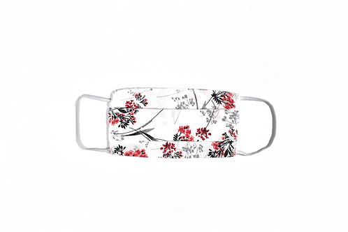Masque Fleurs rouge/noir/blanc