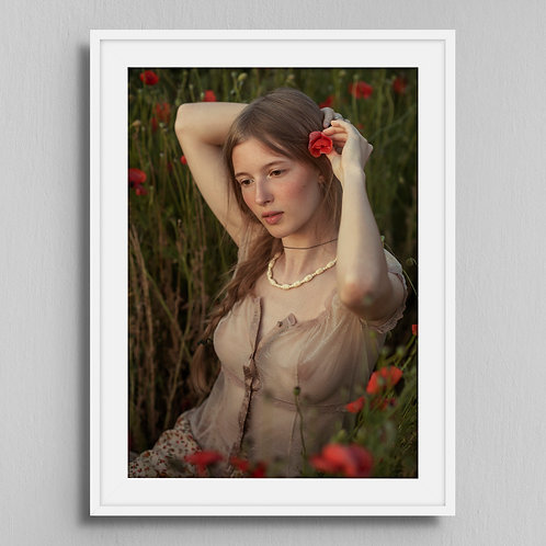 Poster Girl with poppies 2