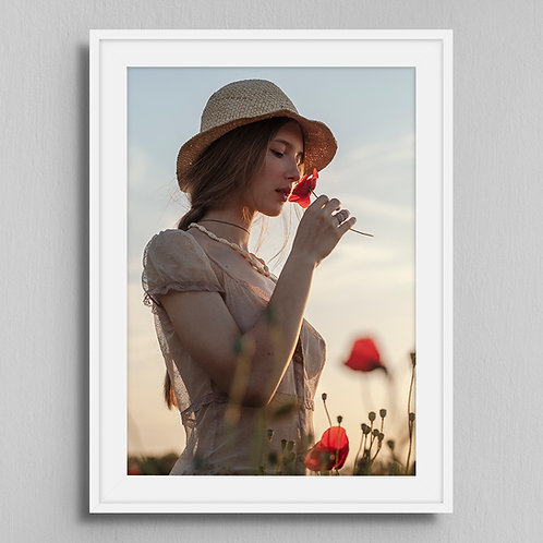 Poster Girl with poppies 1