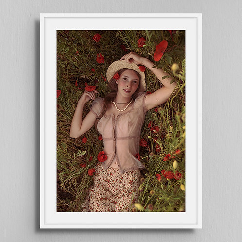 Poster Girl with poppies 3