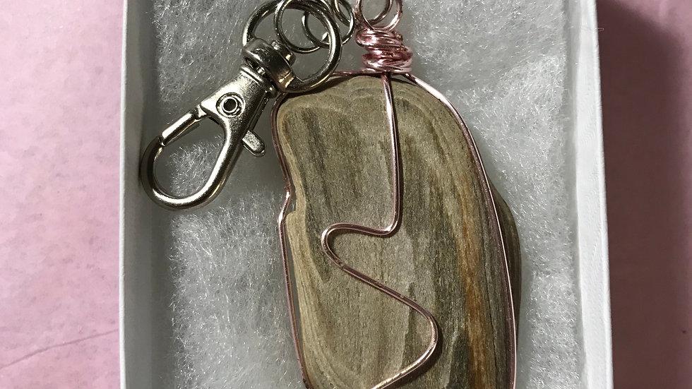 Petrified Wood Keychain