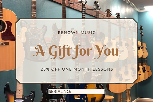 25% Off One Month of Lessons