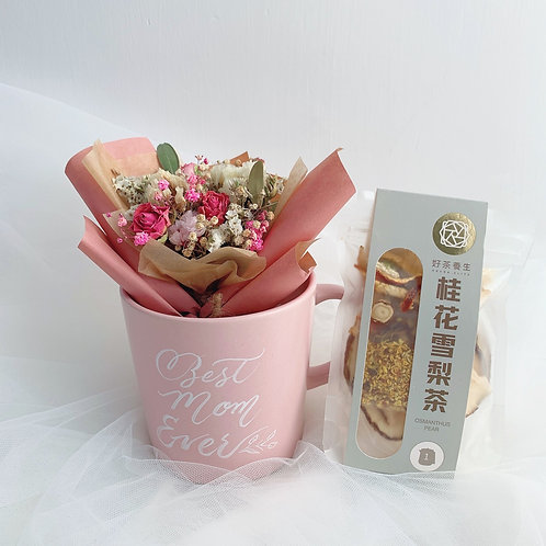 Mini bouquet with Flower Tea in mug 迷李花束花茶柸