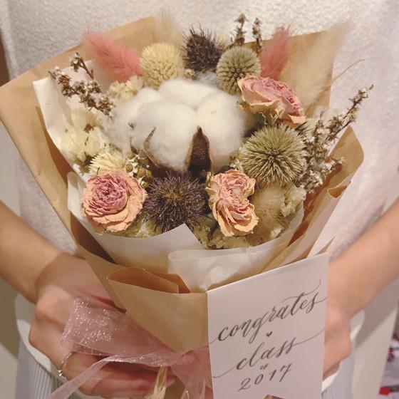 Blush & make a levant cotton bouquet Class