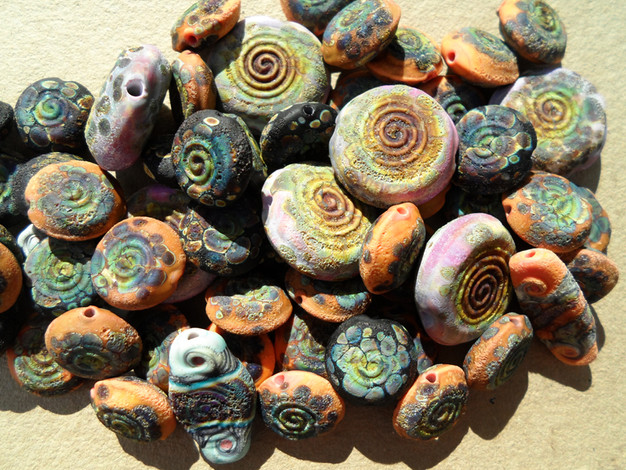 Rustic lampwork beads spiral coin with raku