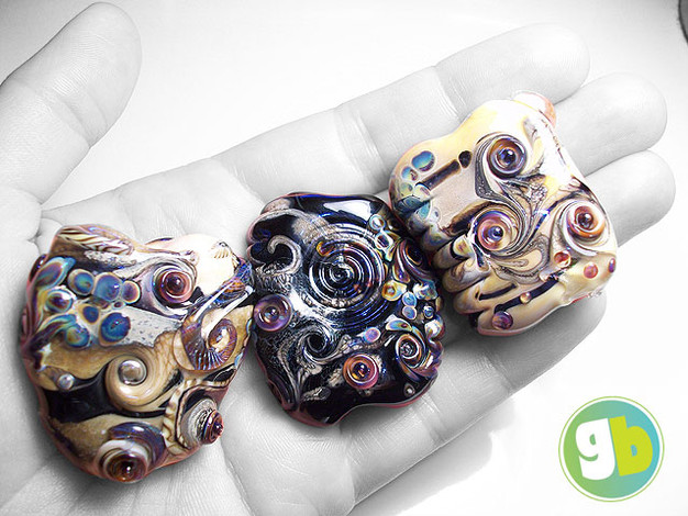 """Ancient Tablet"" lampwork bead focals with raku and silver leaf"