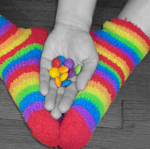 Rainbow lentil beads and rainbow socks