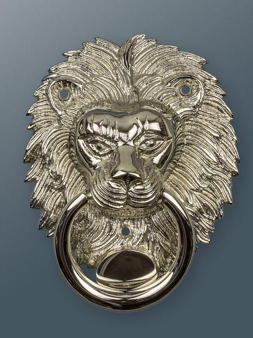 Brass Lion Door Knocker - Nickel Finish