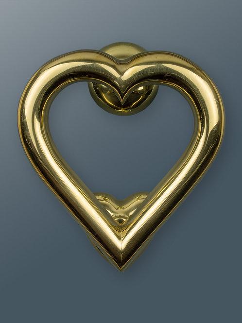 Brass Heart Door Knocker - Brass Finish