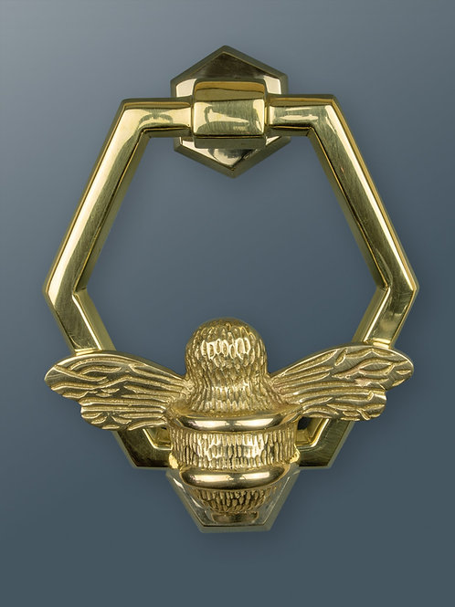 Brass Honeycomb Ring Bee Knocker - Brass Finish