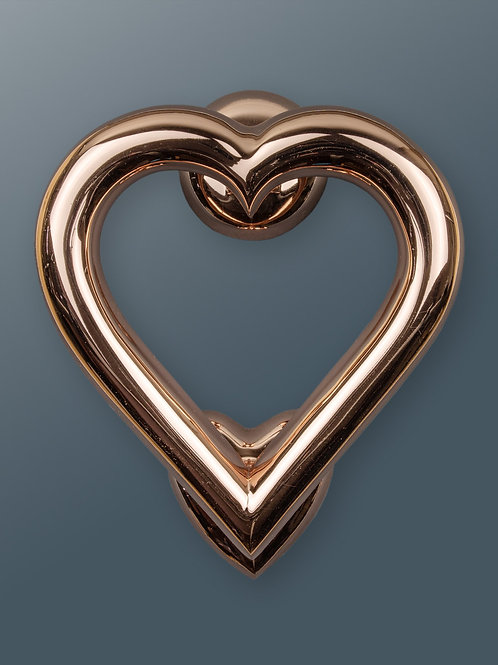 Brass Heart Door Knocker - Rose Finish