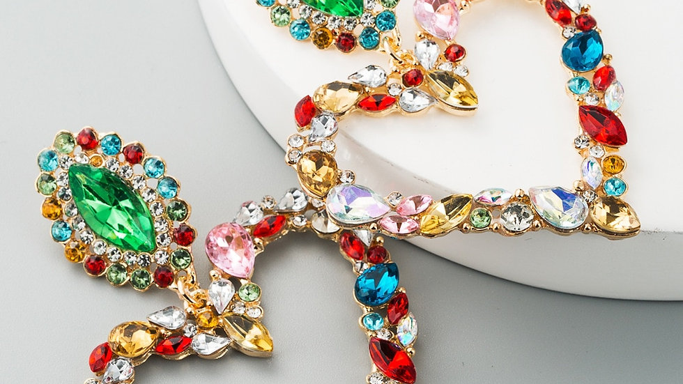 Colorful Crystal Heart Drop Earring