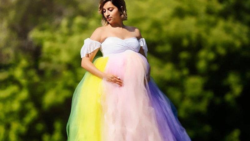 Sexy Colorful Lace Maternity Dress