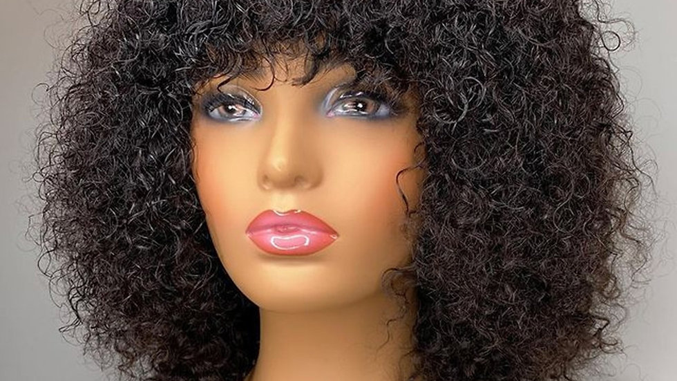 Jerry Curly Remy Human Hair Wigs With Bangs