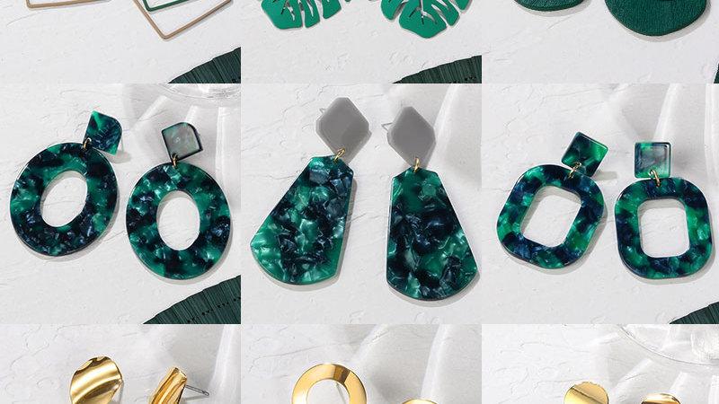 Sassy Green Cute  Drop Earrings
