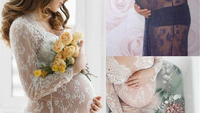 V-Neck Lace Maternity Dress