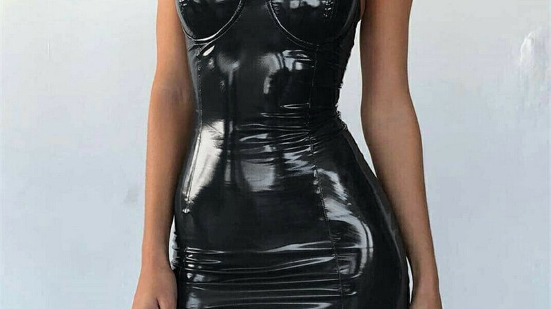 Sexy Backless Faux Leather Dress