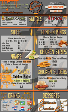 AJ's Wings menu
