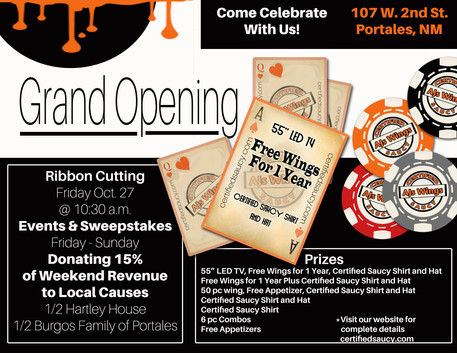 Ad for AJ's Wings Grand Opening