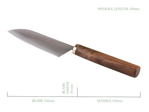 Traditional Santoku with Jarrah and Brass