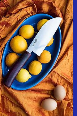 Traditional Santoku with Purple Heart Ha