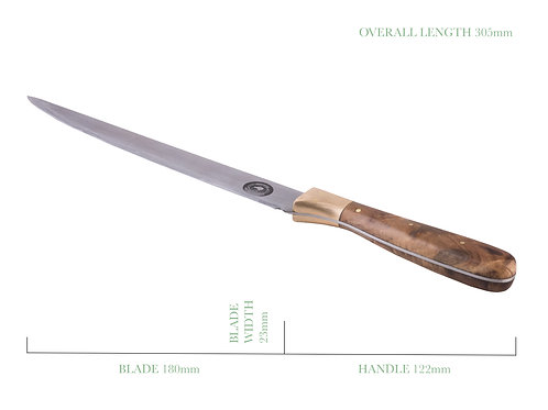 7 Inch Filleting Knife with Puriri and Brass Handle