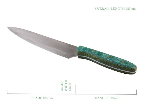 Green Burlap French Chefs Knife