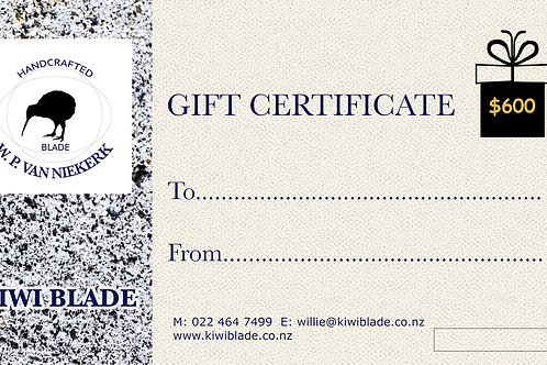 Gift Certificate $600