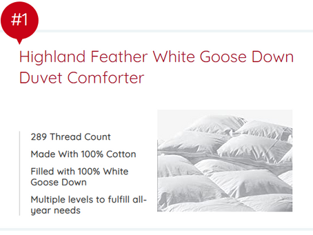 Santa Barbara White Goose Down Comforter - #1 pick by Ode Magazine