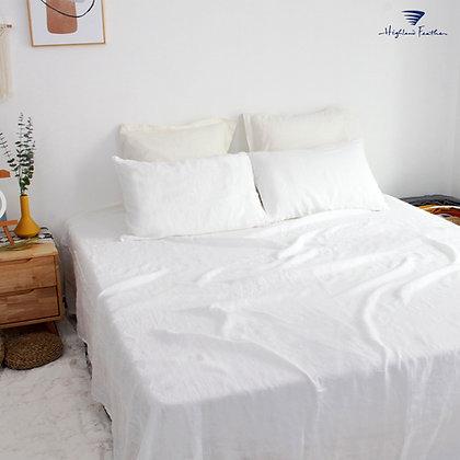 French Linen Bedding - White
