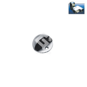 Half dome shape floor mounted door stop with black rubber bumper.