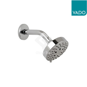 Chrome plated 5-pattern fixed overhead shower head with shower arm, with WELS Grade 1 label.