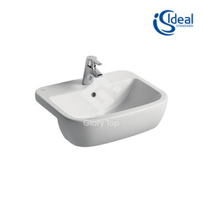 'Tempo' fine fire clay semi-recessed washbasin with one central taphole and overflow hole.