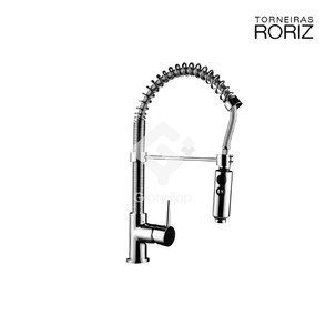 'Guarda' chrome plated deck mount sink mixer with swivel spray spout with multi spray pattern, flexible hoses.