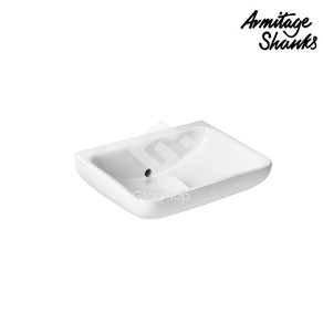 'Contour 21+' vitreous china wall mounted washbasin without taphole no overflow hole, back outlet, with Hydrofin anti-splash design, anti-microbial glazed SmartGuard surface