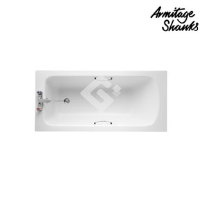 'Sandringham 21' Idealform drop in bathtub with 2 tapholes, with chrome plated grip handles, with chrome plated waste fittings and overflow.