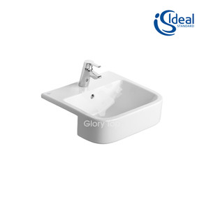 'Concept' fine fireclay semi-recessed wash basin with one central tap hole and overflow hole