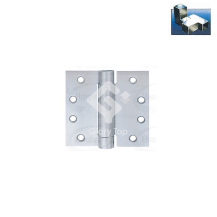 single action spring hinge templated drilled, Grade 304 s/s/s finish, c/w wood screws.
