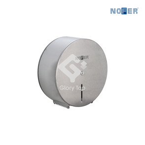 Stainless steel Grade 304 surface mounted jumbo roll toilet paper holder with lock and plastic spindle, without serrate.