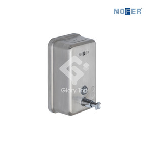 Stainless steel Grade 304 surface mounted vertical manual operated liquid soap dispenser.