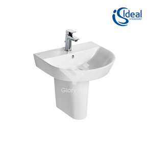 'Concept Air' fine fire clay wall hung  washbasin with one central taphole and overflow, with semi-pedestal