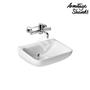 'Contour 21+' vitreous china wall mounted washbasin without taphole nor overflow hole, back outlet, with Hydrofin anti-splash design, anti-microbial glazed SmartGuard surface