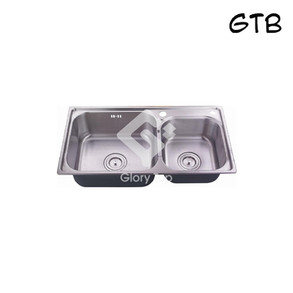 Grade 304 Stainless steel undermount double bowl sink with fixing clips